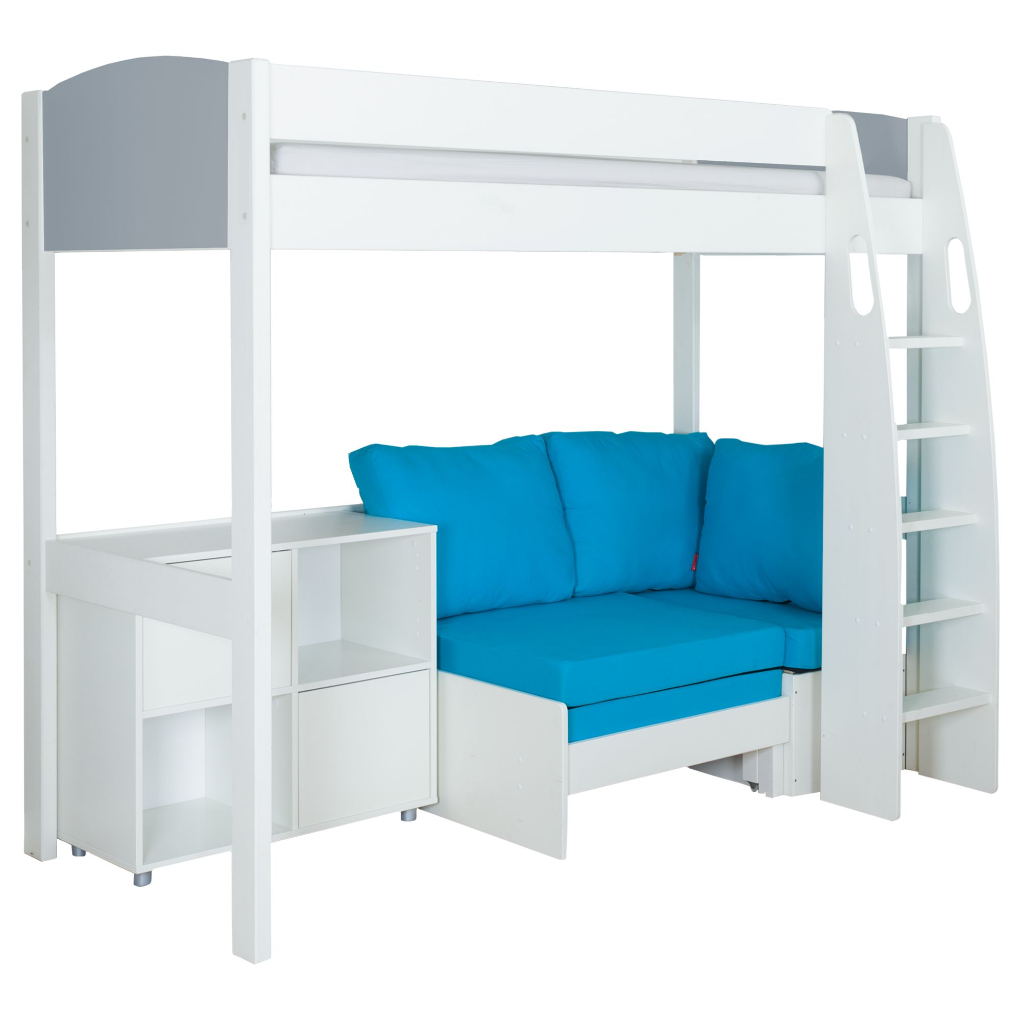 Stompa Stompa Uno S Plus High-Sleeper with Grey Headboard, Aqua Chair Bed and 2 Door Cube Unit