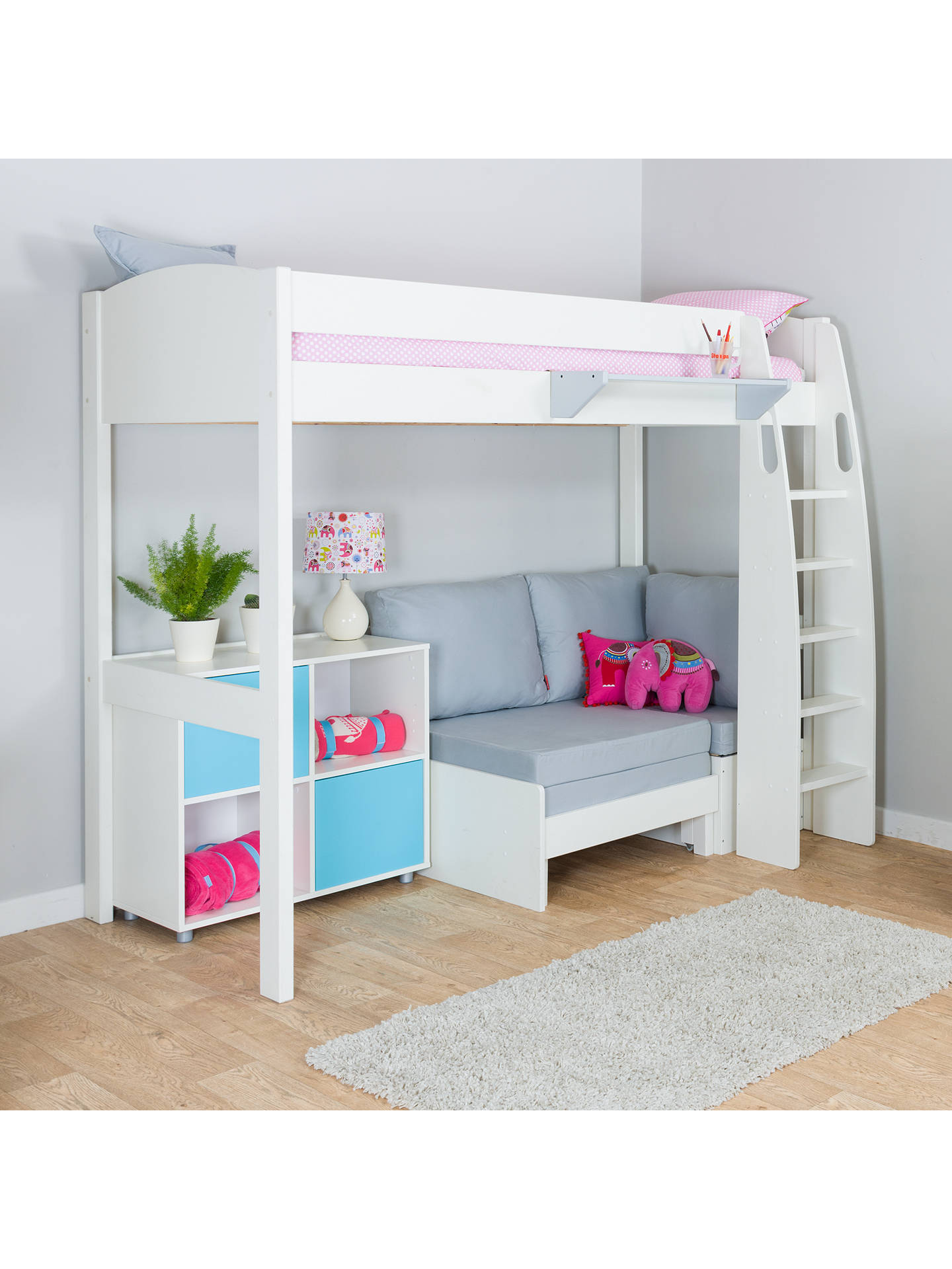 Buy Stompa Uno S Plus High-Sleeper with White Headboard, Grey Chair Bed and 2 Door Cube Unit, Grey/Aqua Online at johnlewis.com