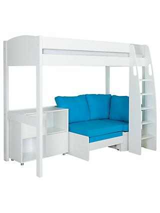 Stompa Uno S Plus High Sleeper With White Headboard Aqua Chair Bed And 2