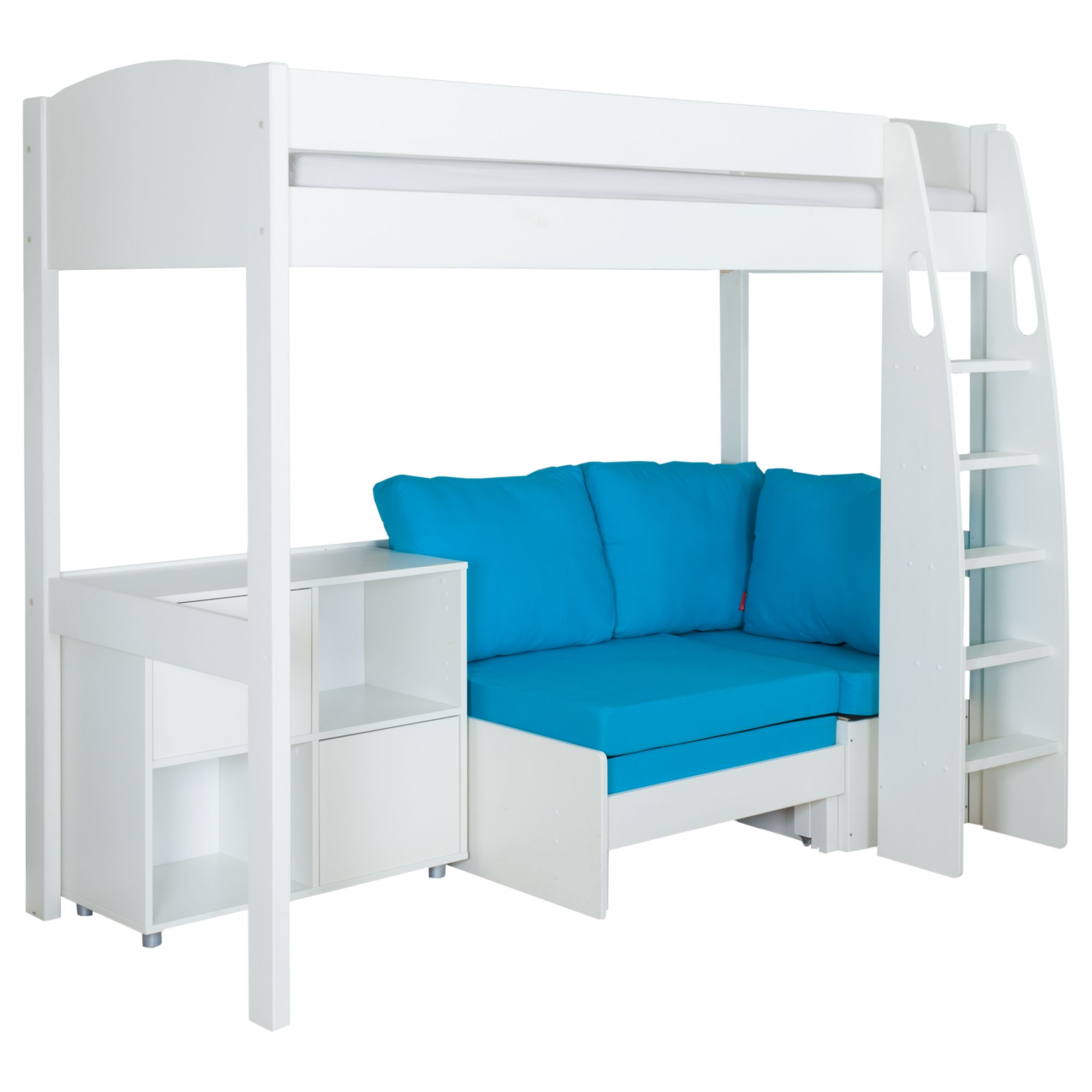 Stompa Stompa Uno S Plus High-Sleeper with White Headboard, Aqua Chair Bed and 2 Door Cube Unit