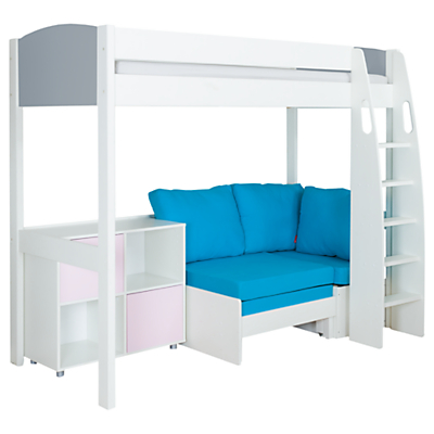 Stompa Uno S Plus High-Sleeper with Grey Headboard, Aqua Chair Bed and 2 Door Cube Unit