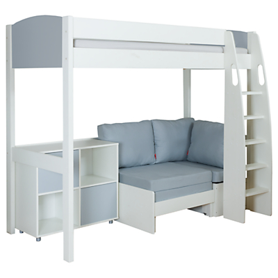 Stompa Uno S Plus High-Sleeper with Grey Headboard, Grey Chair Bed and 2 Door Cube Unit