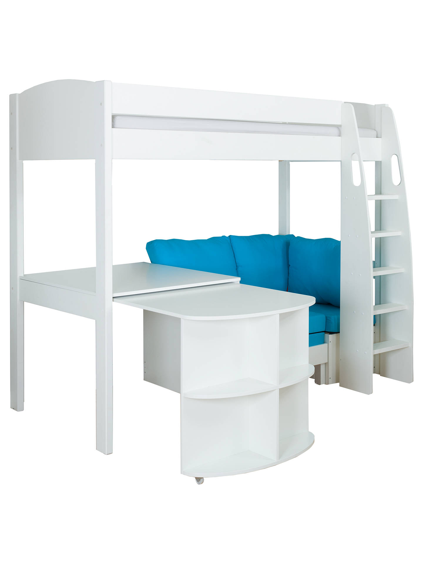BuyStompa Uno S Plus High-Sleeper Bed with Pull-Out Desk and Chair Bed, White/Aqua Online at johnlewis.com