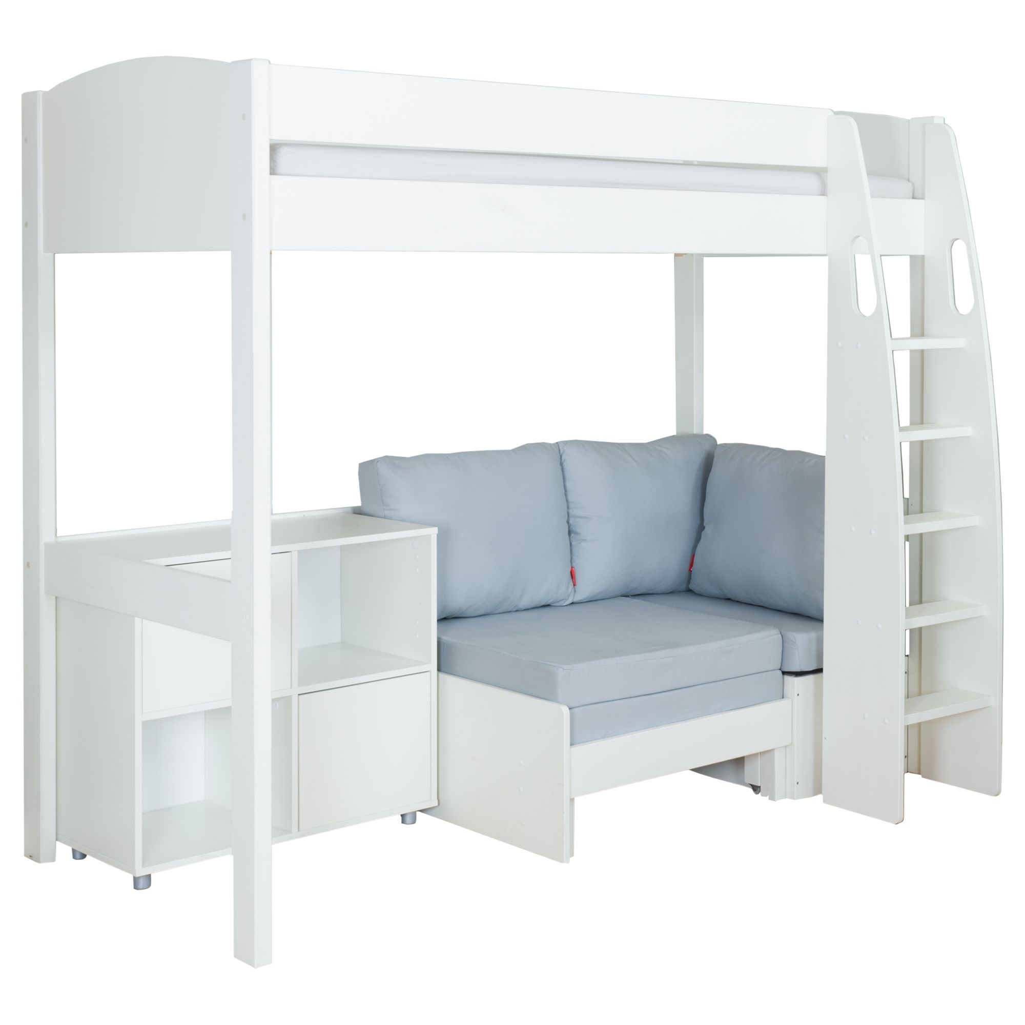 Stompa Stompa Uno S Plus High-Sleeper with White Headboard, Grey Chair Bed and 2 Door Cube Unit