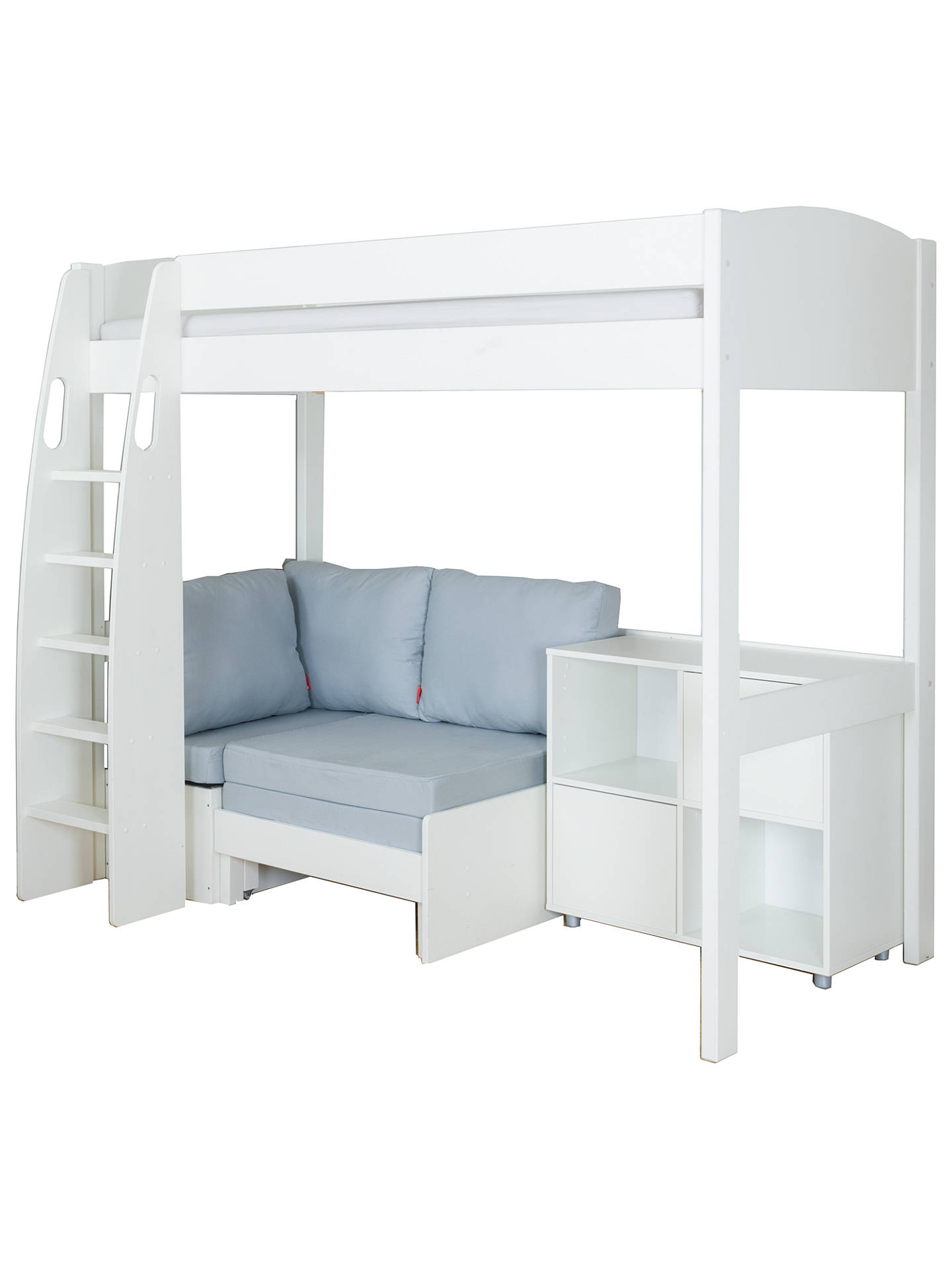 Buy Stompa Uno S Plus High-Sleeper with White Headboard, Grey Chair Bed and 2 Door Cube Unit, Grey/White Online at johnlewis.com