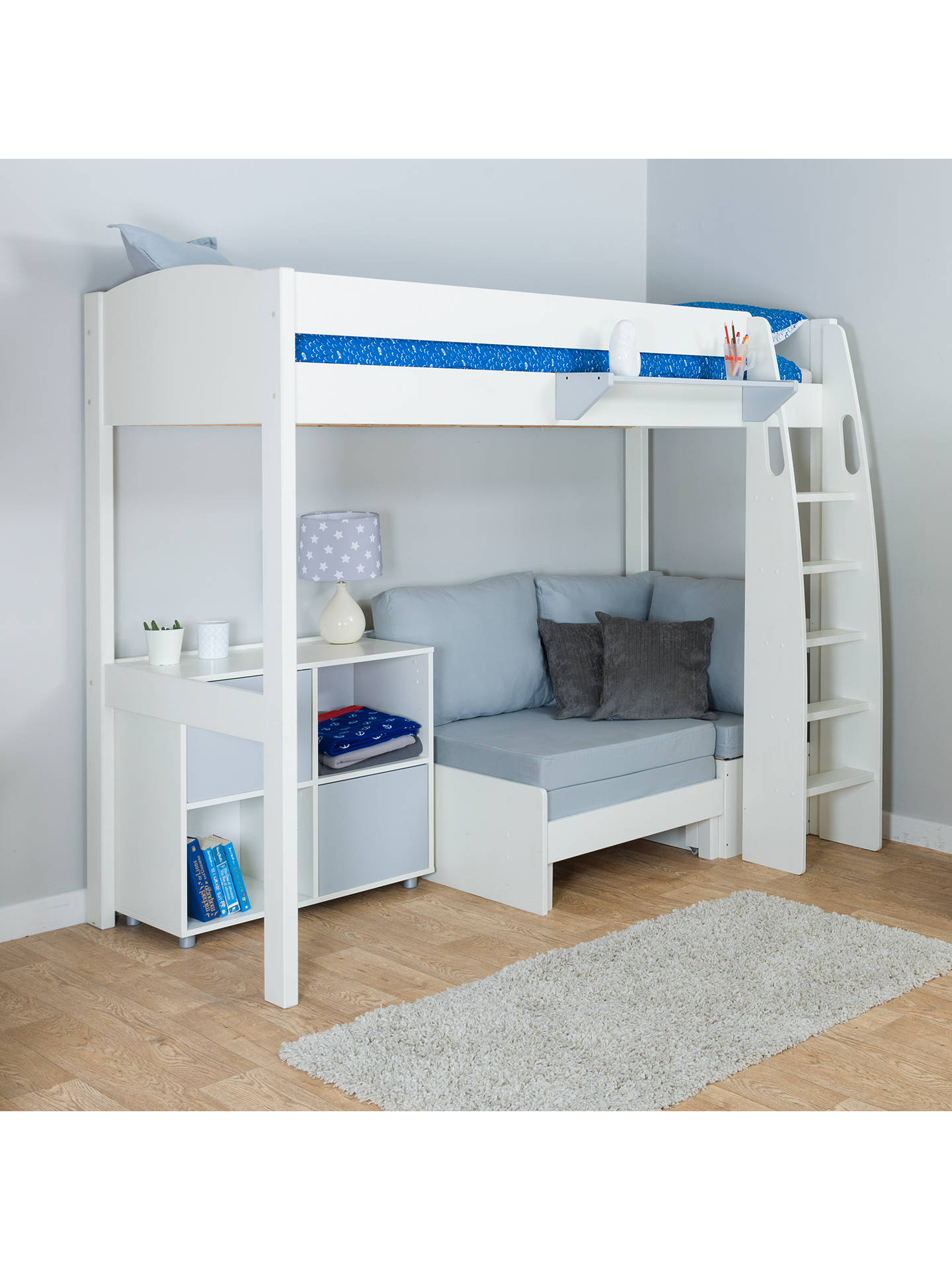 Buy Stompa Uno S Plus High-Sleeper with White Headboard, Grey Chair Bed and 2 Door Cube Unit, Grey Online at johnlewis.com