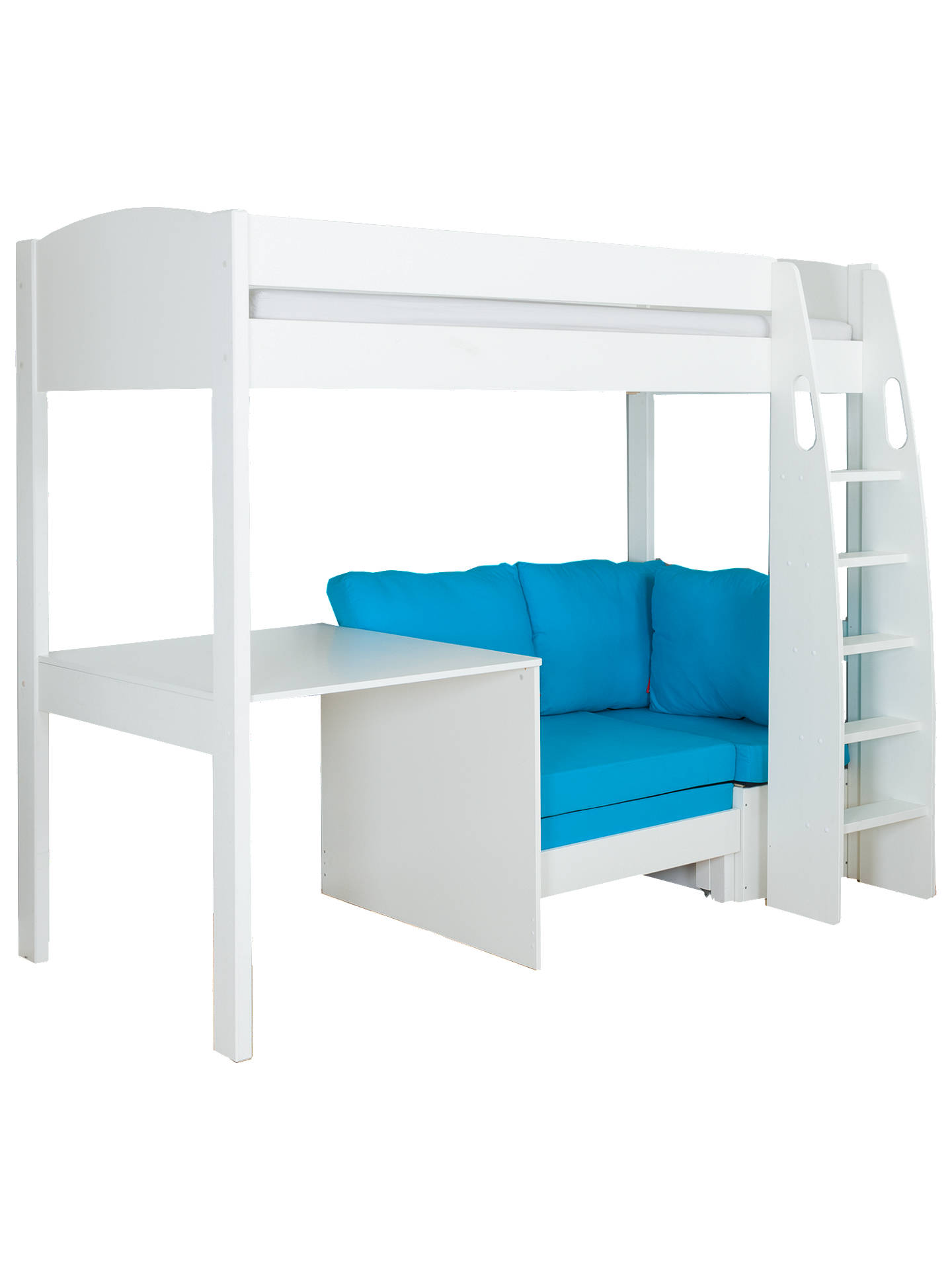 BuyStompa Uno S Plus High-Sleeper Bed with Fixed Desk and Chair Bed, White/Aqua Online at johnlewis.com