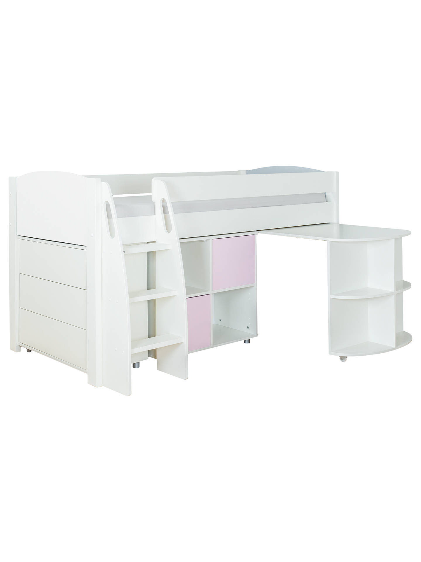 BuyStompa Uno S Plus Mid-Sleeper with Pull-Out Desk, 3 Drawer Chest and 2 Door Cube Unit, White/Pink Online at johnlewis.com