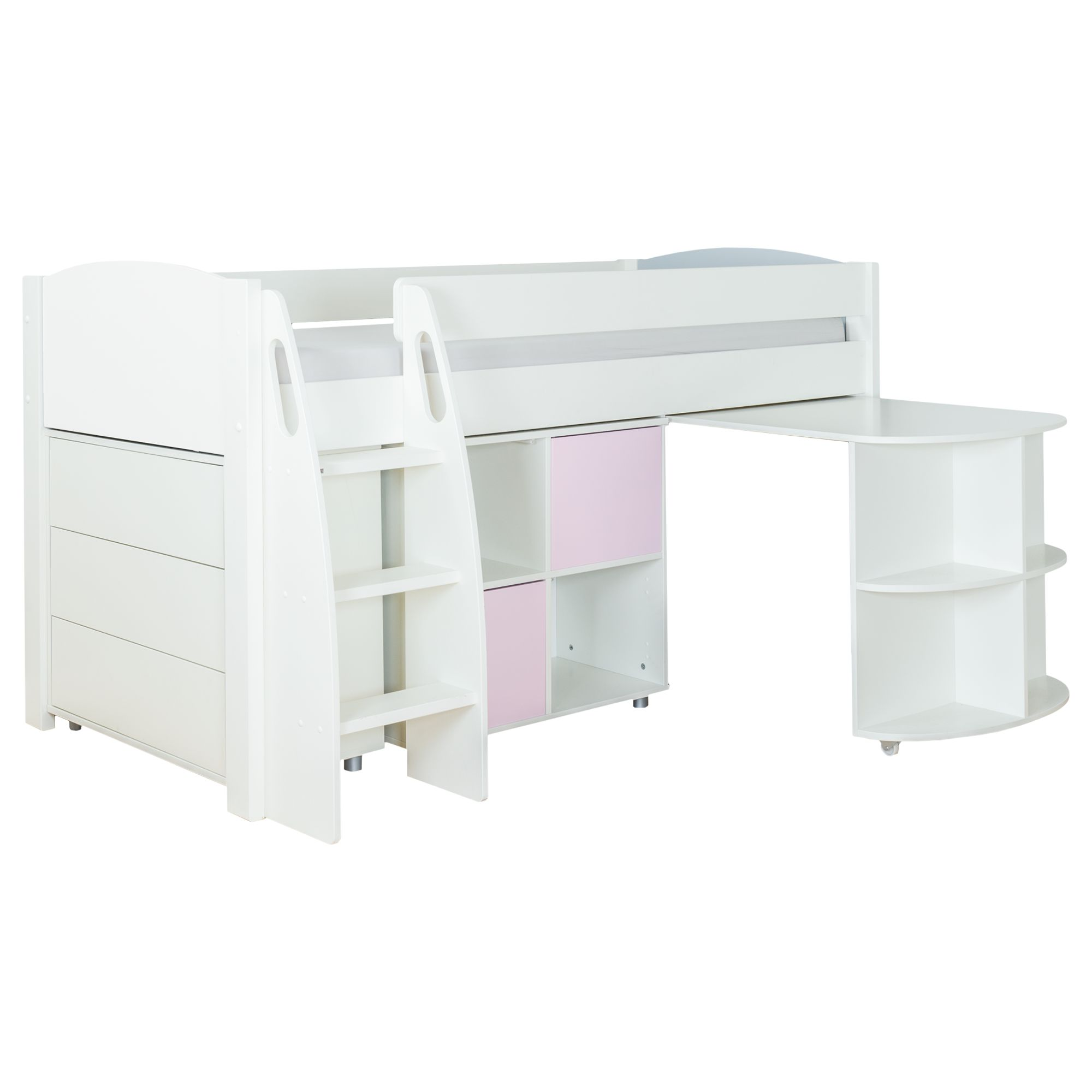 Stompa Stompa Uno S Plus Mid-Sleeper with Pull-Out Desk, 3 Drawer Chest and 2 Door Cube Unit