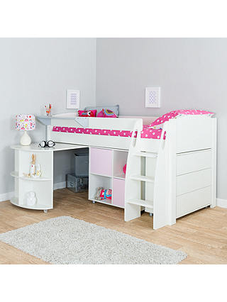 Buy Stompa Uno S Plus Mid-Sleeper with Pull-Out Desk, 3 Drawer Chest and 2 Door Cube Unit, White/Pink Online at johnlewis.com