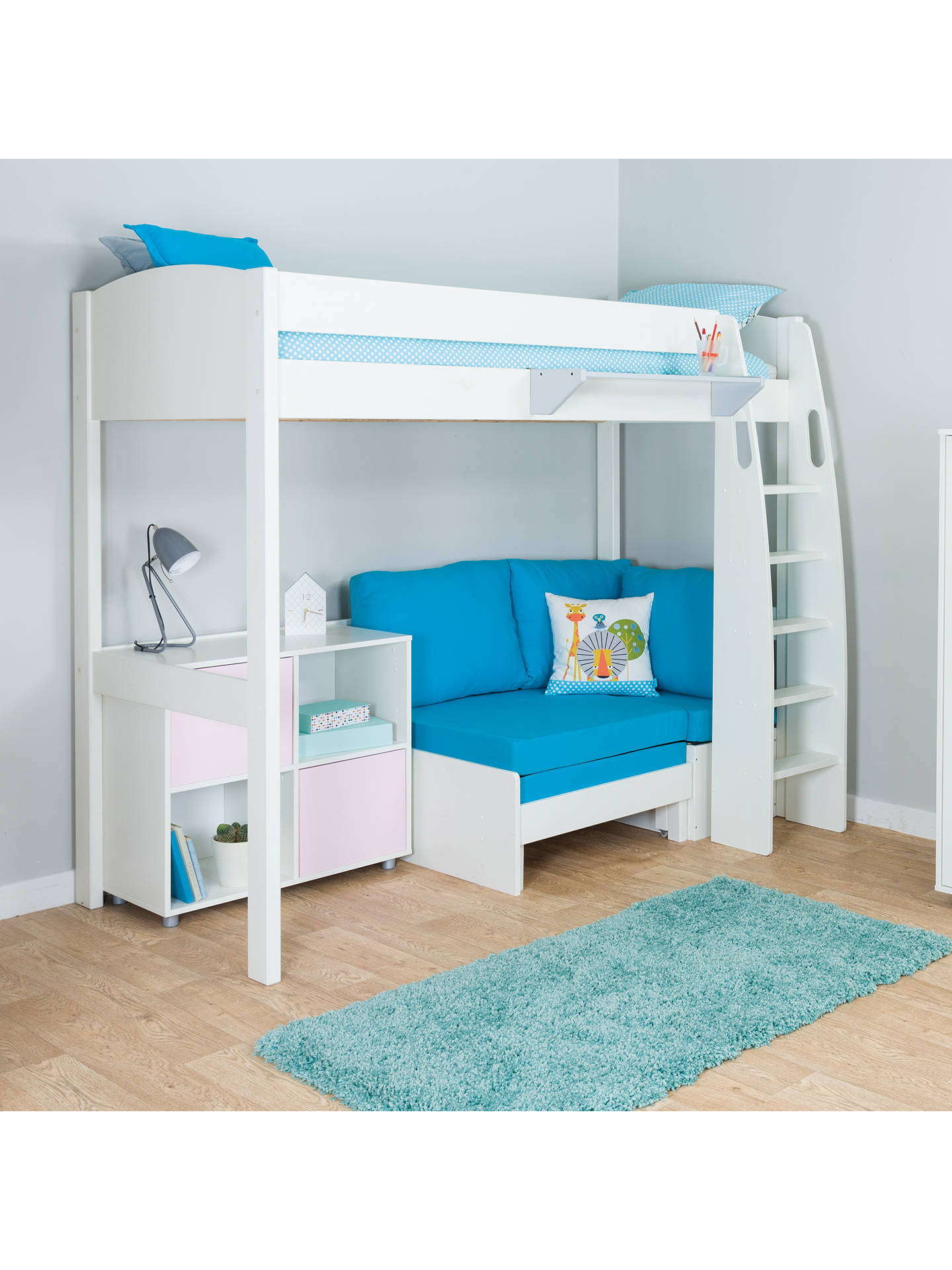 BuyStompa Uno S Plus High-Sleeper with White Headboard, Aqua Chair Bed and 2 Door Cube Unit, Aqua/Pink Online at johnlewis.com