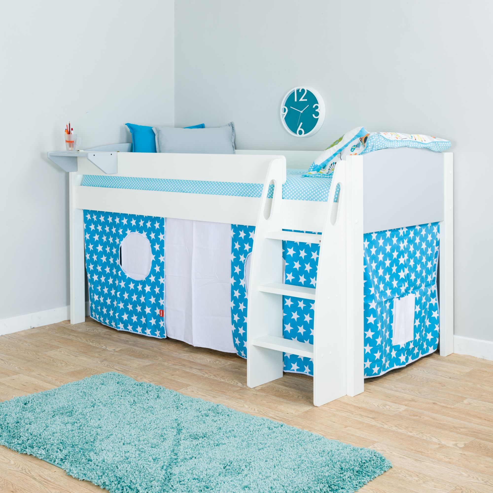 Stompa Uno S Plus Mid Sleeper Bed With Grey Headboard And Star Print Tent At John Lewis Partners