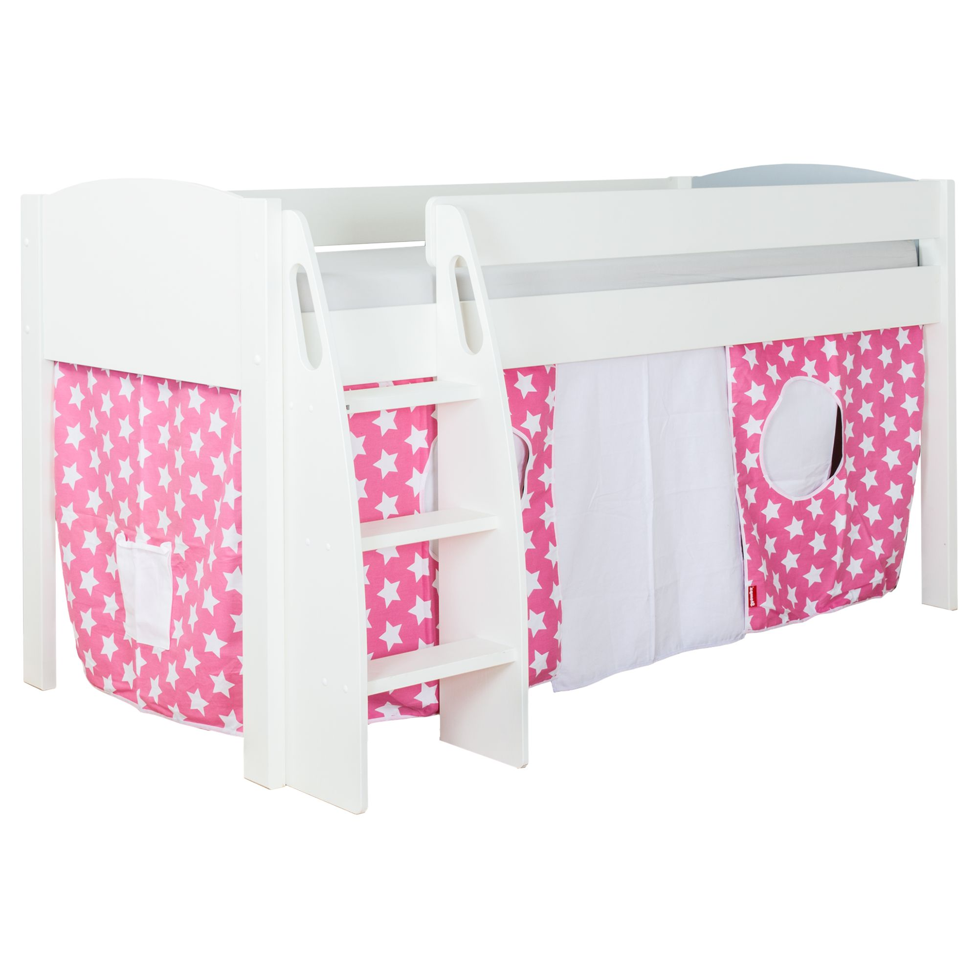 Stompa Stompa Uno S Plus Mid-Sleeper Bed with White Headboard and Star Print Tent