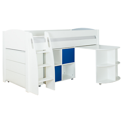Stompa Uno S Plus Mid-Sleeper with Pull-Out Desk, 3 Drawer Chest and 2 Door Cube Unit