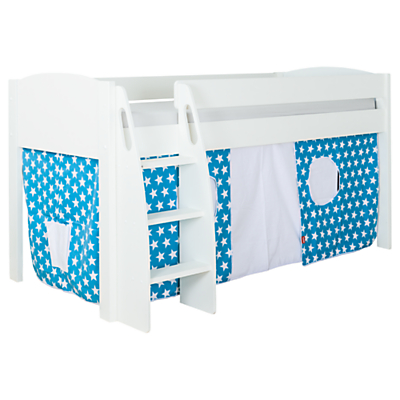 Stompa Uno S Plus Mid-Sleeper Bed with White Headboard and Star Print Tent