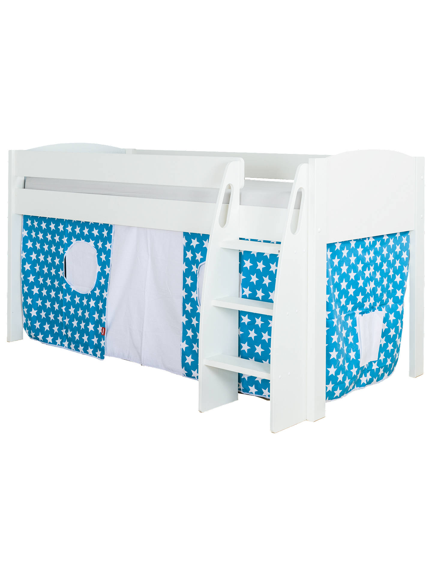 BuyStompa Uno S Plus Mid-Sleeper Bed with White Headboard and Star Print Tent, Aqua Online at johnlewis.com