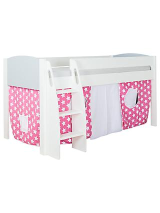 Stompa Uno S Plus Mid Sleeper Bed With Grey Headboard And Star Print Tent
