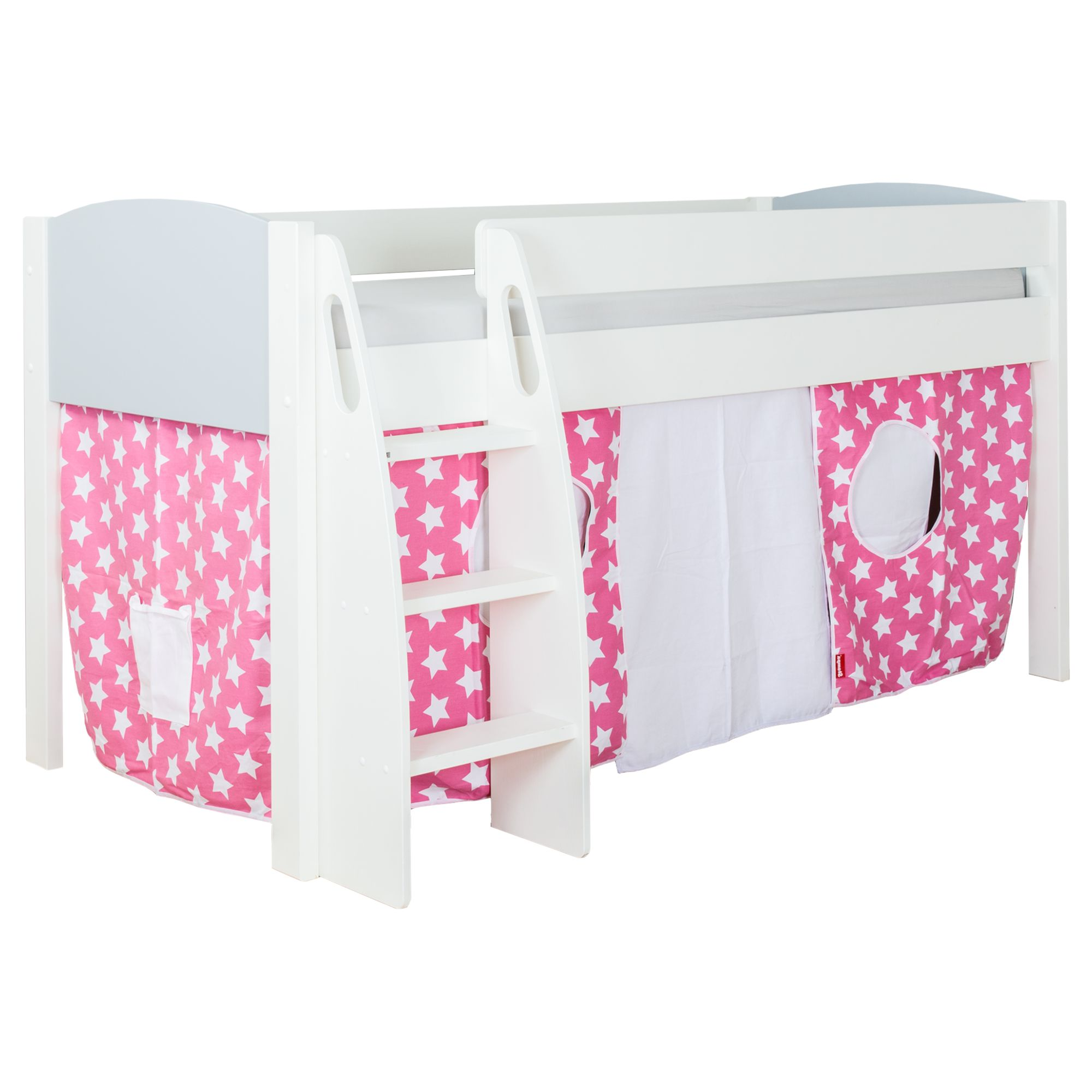 Stompa Stompa Uno S Plus Mid-Sleeper Bed with Grey Headboard and Star Print Tent