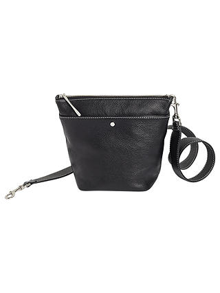 Buy Jigsaw Cameron Leather Mini Hobo Bag, Black Online at johnlewis.com