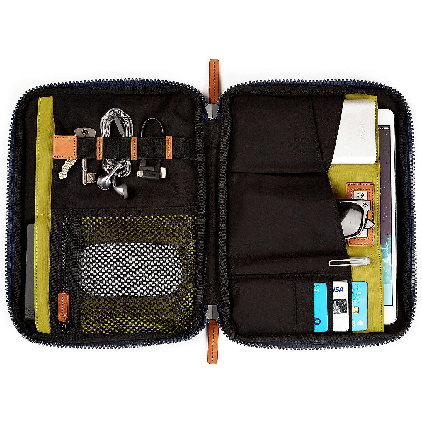 "BuyKnomo Mayfair Knomad Water-Resistant Tech Organiser/Case for Tablets up to 10.5"", Blue Online at johnlewis.com"