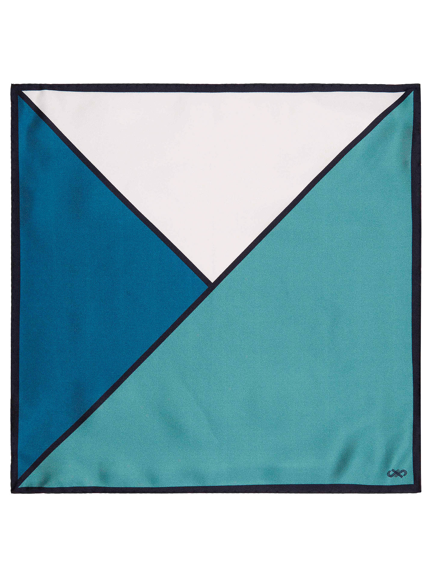 BuyJaeger Colour Contrast Silk Pocket Square, Navy Online at johnlewis.com
