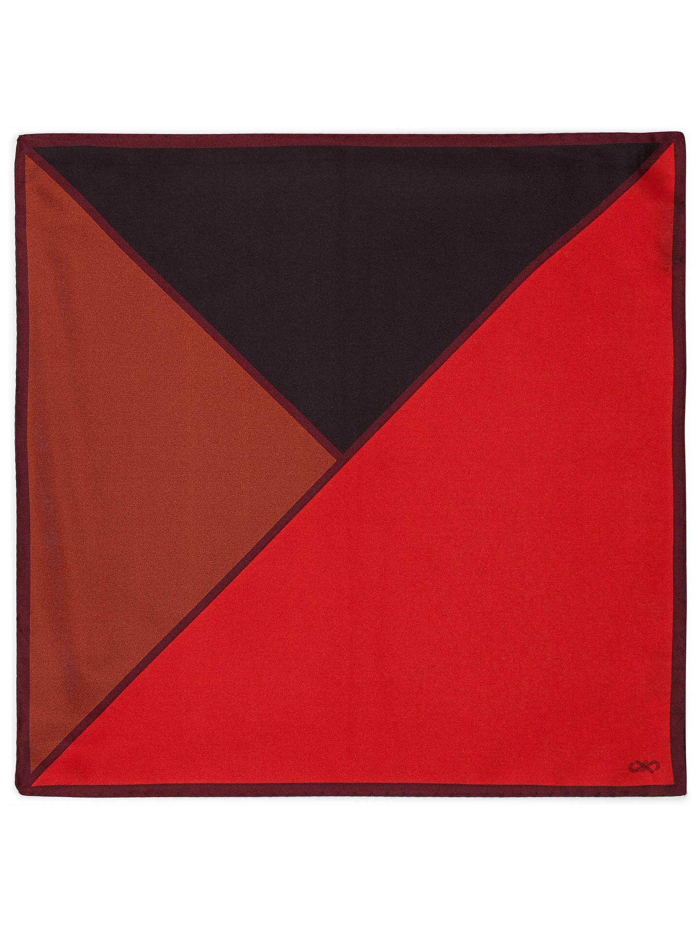 BuyJaeger Colour Contrast Silk Pocket Square, Red Online at johnlewis.com
