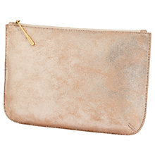 Buy Jigsaw Alana Large Textured Leather Pouch Clutch, Rose Gold Online at johnlewis.com