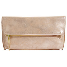 Buy Jigsaw Alexis Leather Foldover Clutch, Rose Gold Online at johnlewis.com