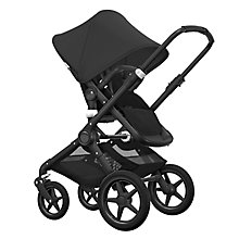 Buy Bugaboo Fox Complete Pushchair and Carrycot, Black with Black Fabric and Sun Canopy Online at johnlewis.com