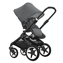 Buy Bugaboo Fox Complete Pushchair and Carrycot, Black with Grey Melange Fabric and Sun Canopy Online at johnlewis.com