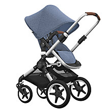 Buy Bugaboo Fox Complete Pushchair and Carrycot, Aluminium with Blue Melange Fabric and Sun Canopy Online at johnlewis.com