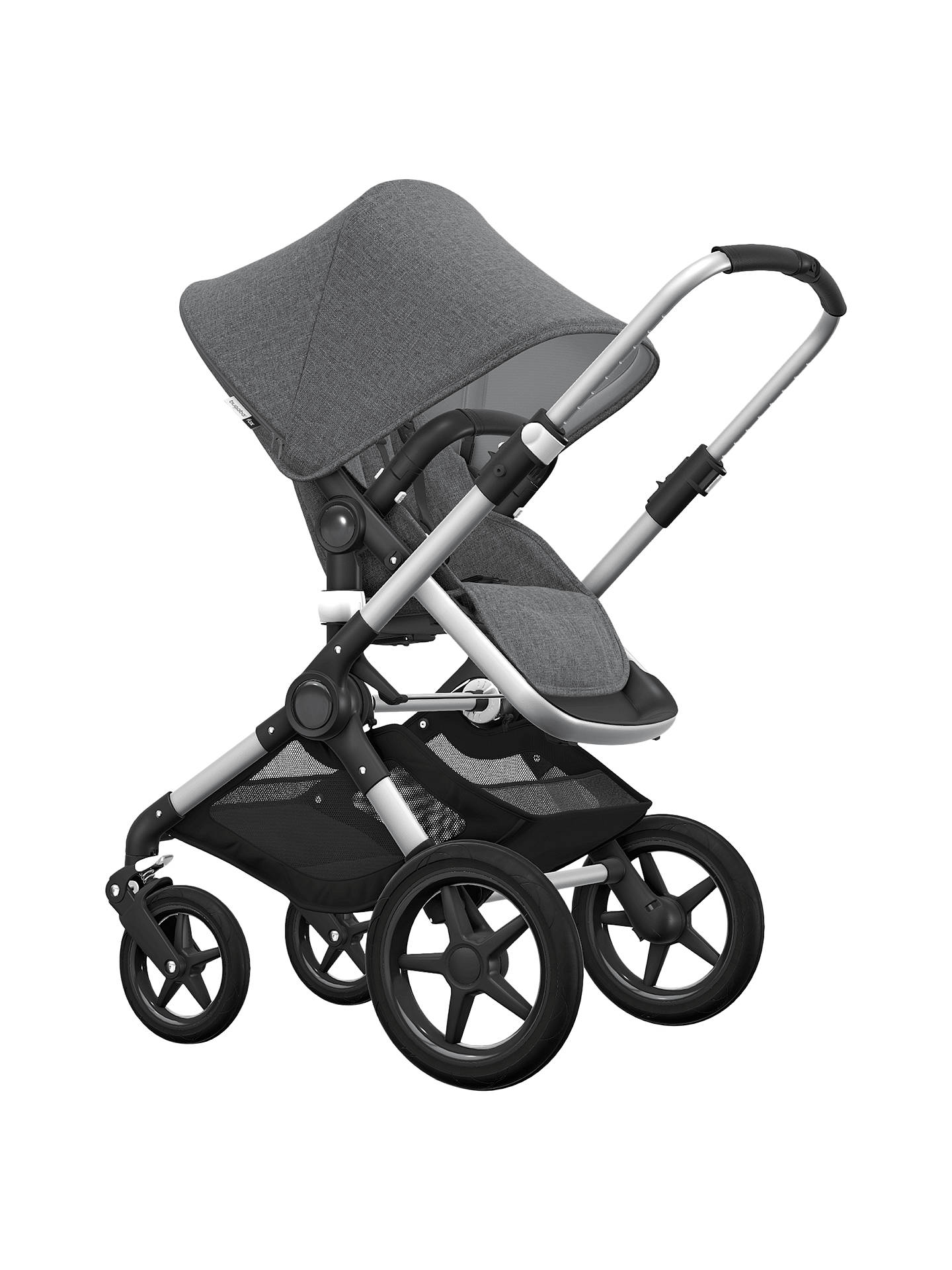 Buy Bugaboo Fox Complete Pushchair and Carrycot Aluminium with Grey Melange Fabric and Sun Canopy ...  sc 1 st  John Lewis & Bugaboo Fox Complete Pushchair and Carrycot Aluminium with Grey ...