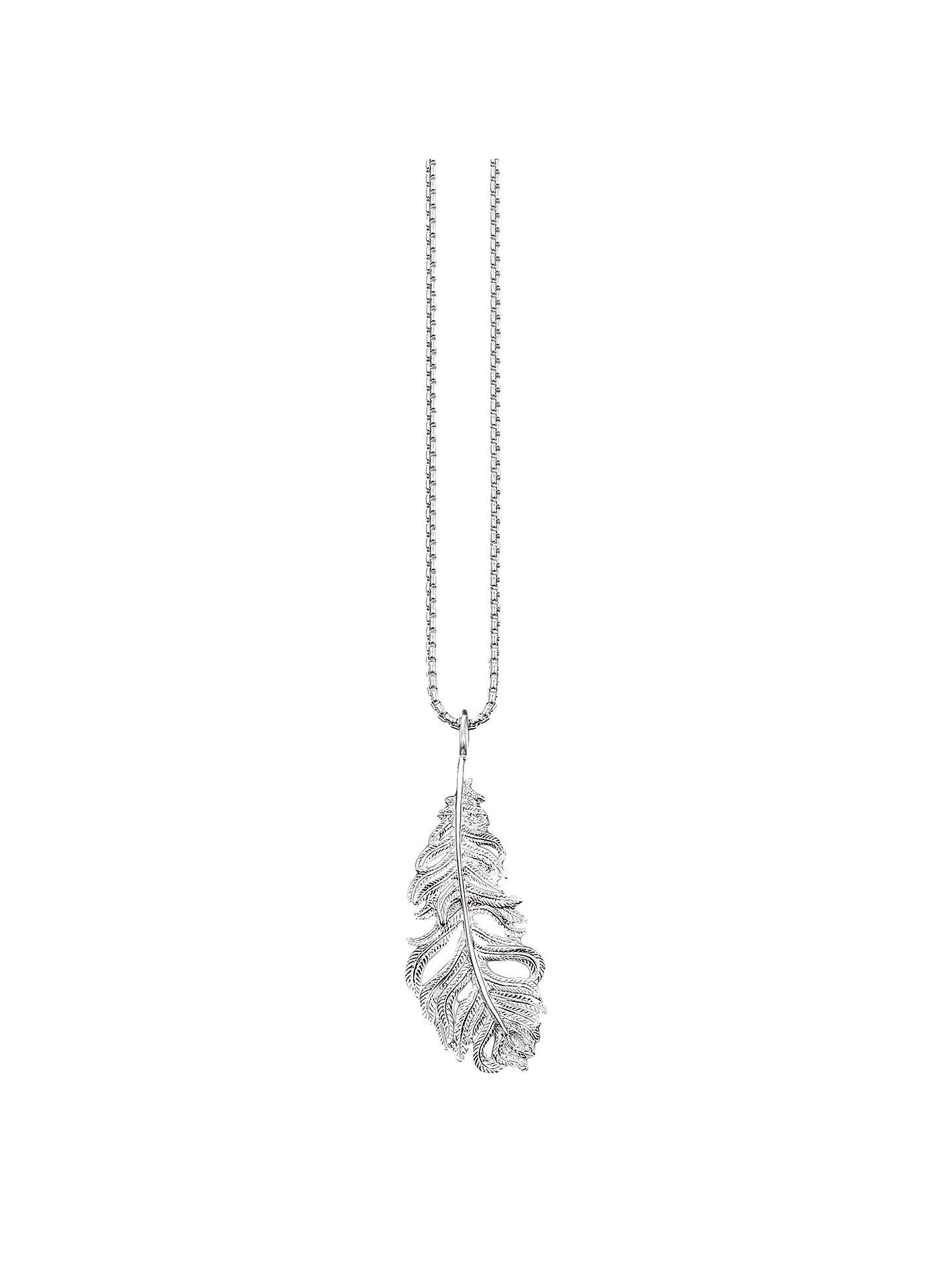 Buy THOMAS SABO Glam & Soul Feather Pendant Necklace, Silver Online at johnlewis.com