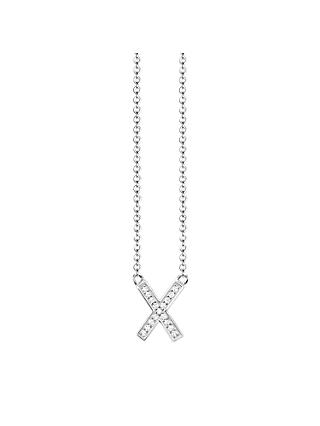 THOMAS SABO Glam & Soul Cubic Zirconia Cross Pendant Necklace, Silver
