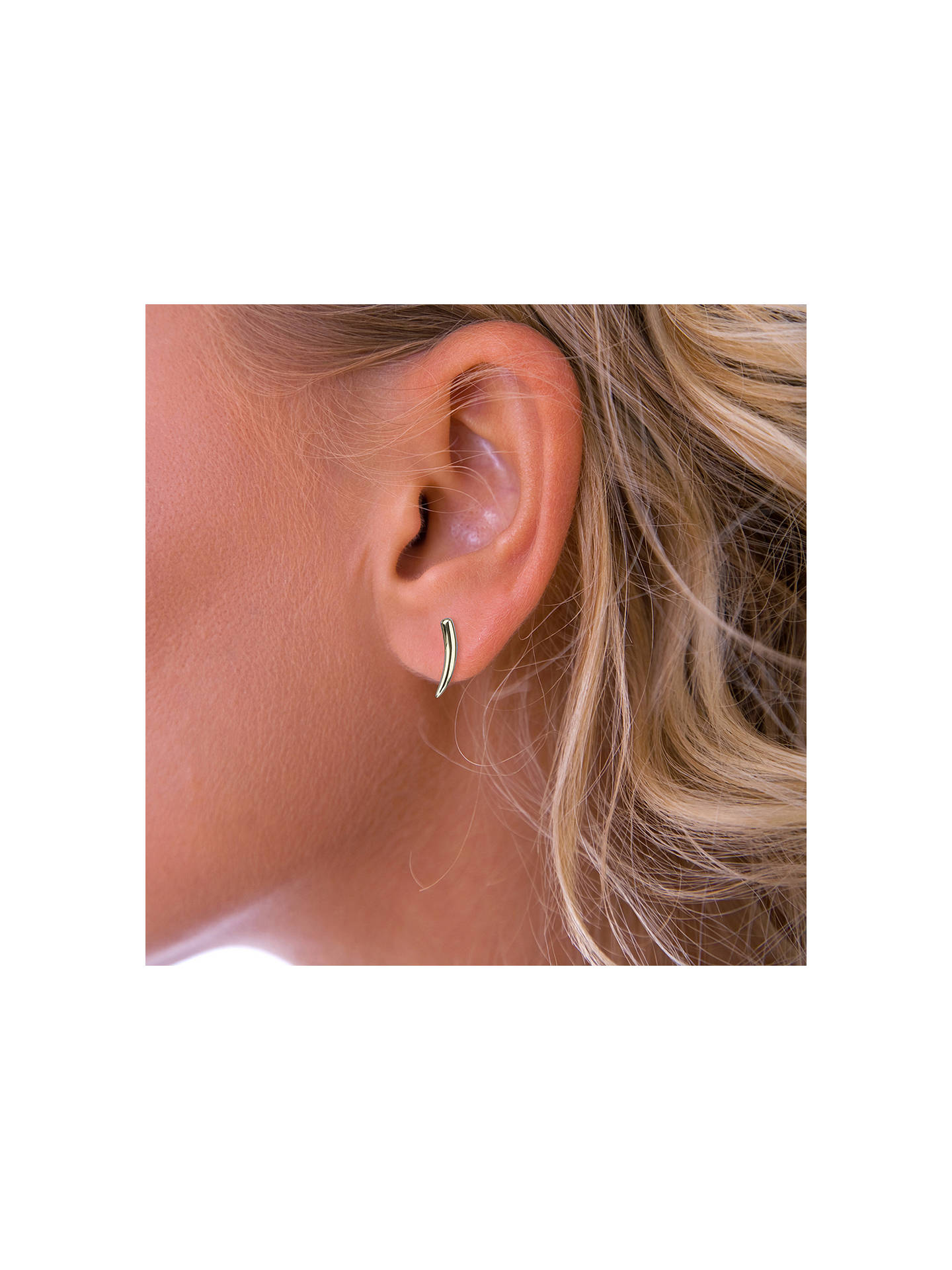 071df1496 Buy Nina B 9ct Yellow Gold Curved Slim Bar Earrings, Gold Online at  johnlewis.