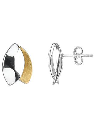 Nina B Silver and Gold Stud Earrings, Multi