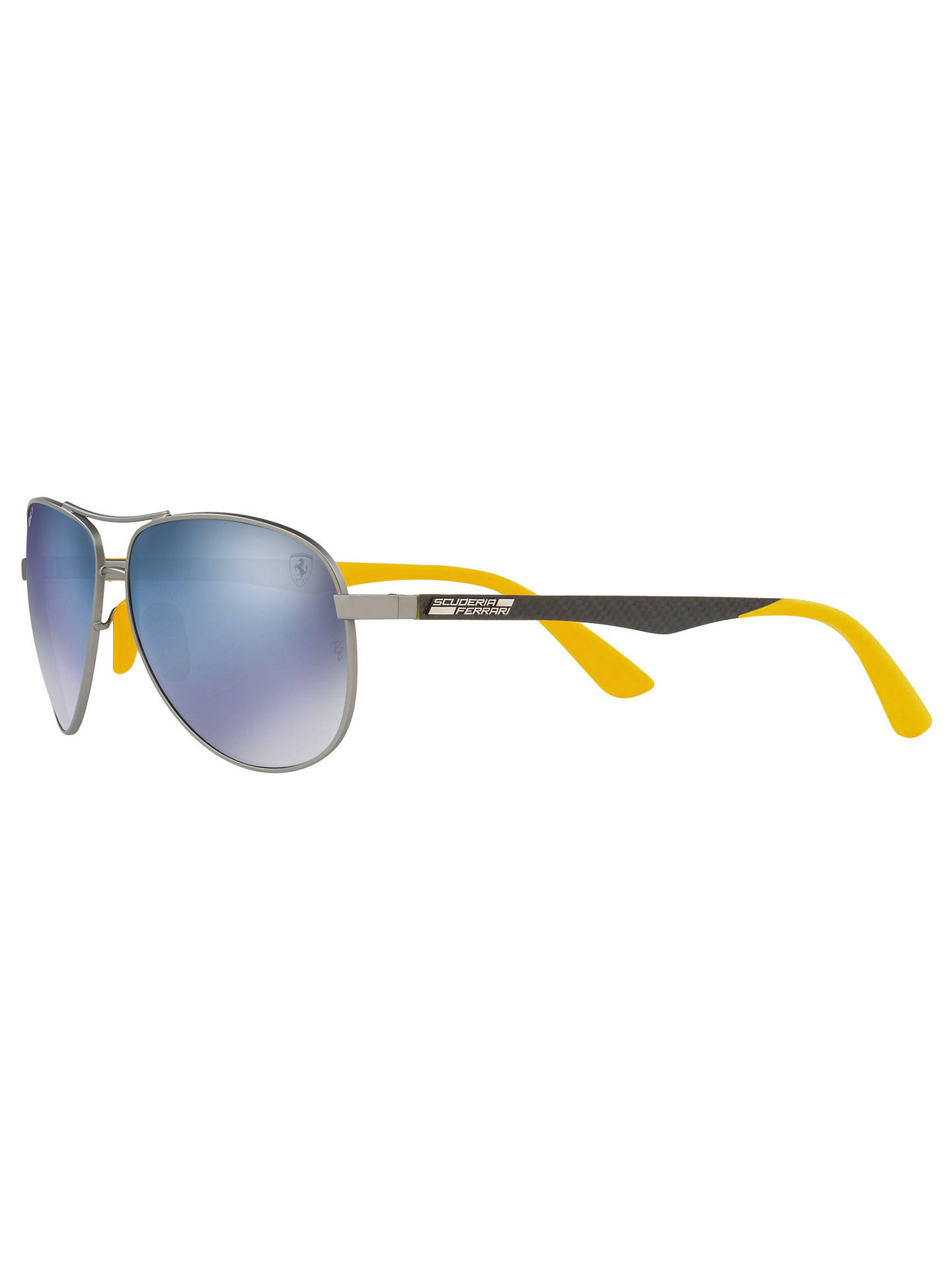 Buy Ray-Ban RB8313M Polarised Scuderia Ferrari Aviator Sunglasses, Grey/Mirror Blue Online at johnlewis.com