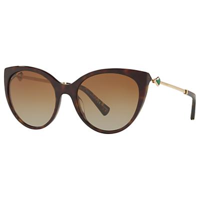 BVLGARI BV8195KB Women's Polarised Cat's Eye Sunglasses, Tortoise/Brown Gradient