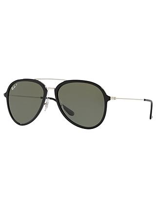Ray-Ban RB4298 Polarised Aviator Sunglasses, Black/Green