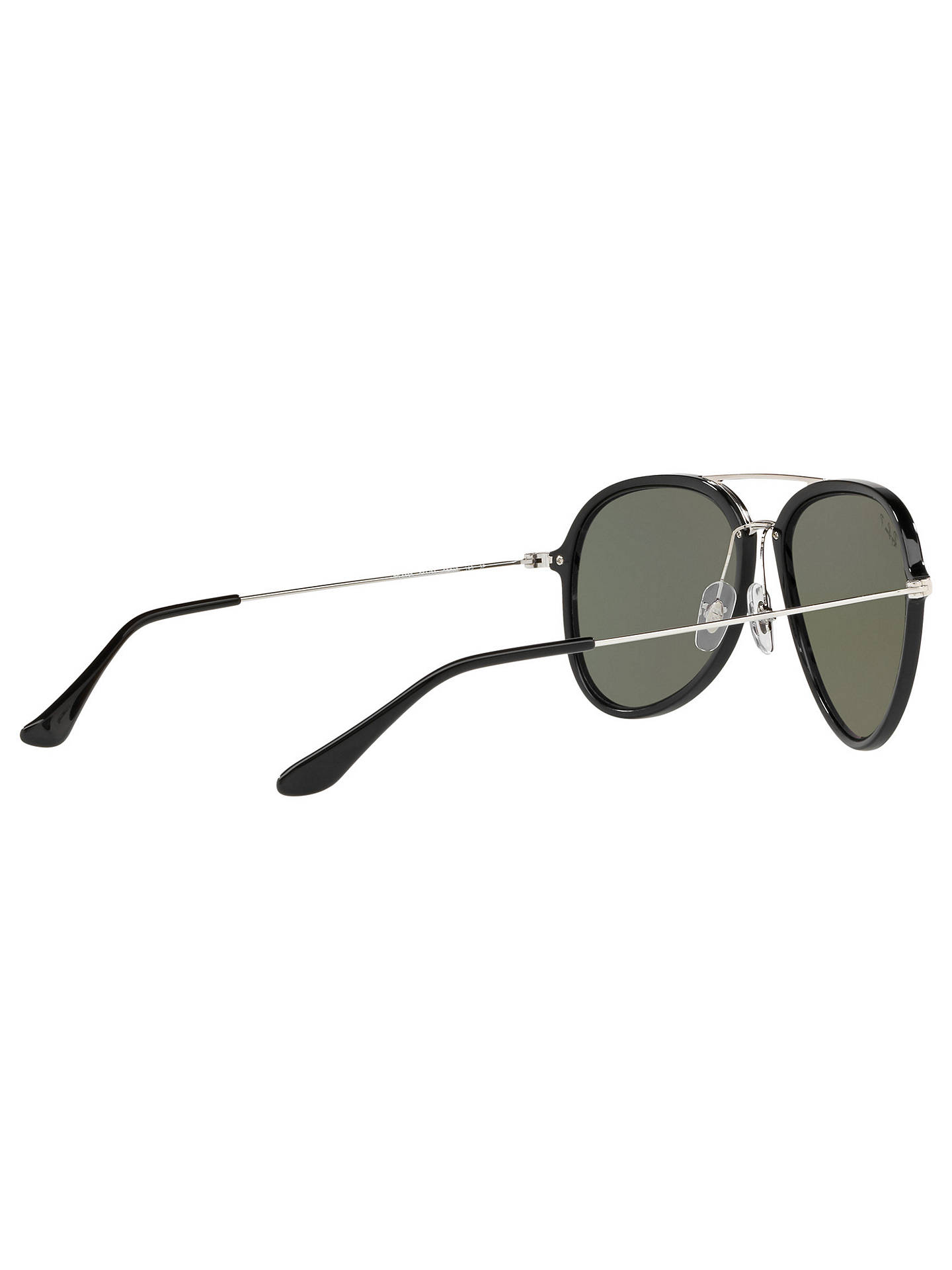 Buy Ray-Ban RB4298 Polarised Aviator Sunglasses, Black/Green Online at johnlewis.com