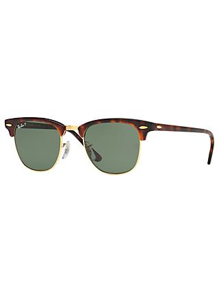 Ray-Ban RB3016 Men's Polarised Clubmaster Sunglasses, Tortoise/Green
