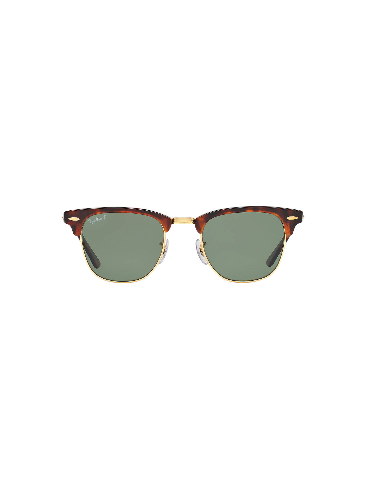 BuyRay-Ban RB3016 Men's Polarised Clubmaster Sunglasses, Tortoise/Green Online at johnlewis.com