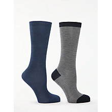Buy John Lewis Solid Colour and Stripe Knee High Socks, Pack of 2 Online at johnlewis.com