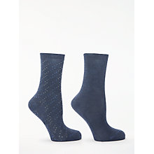 Buy John Lewis Solid Colour and Spot Ankle Socks, Pack of 2, Navy Online at johnlewis.com