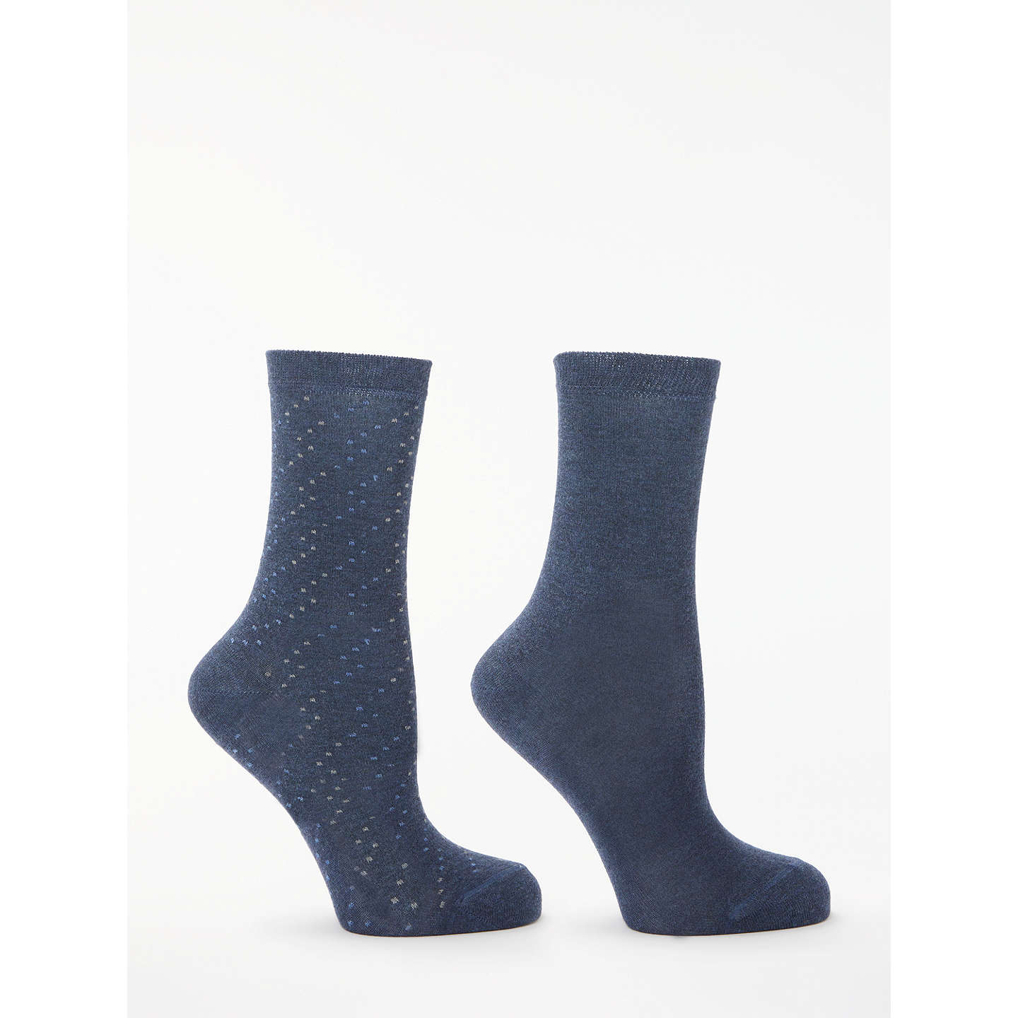 BuyJohn Lewis Solid Colour and Spot Ankle Socks, Pack of 2, Navy Online at johnlewis.com