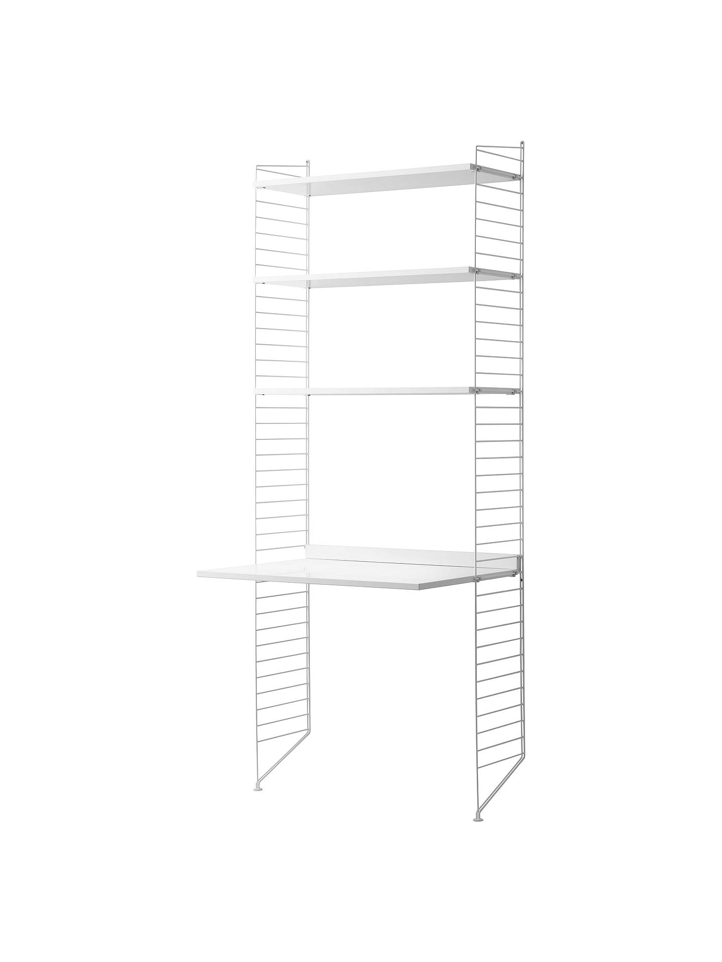 Buystring Shelving Unit with Work Desk and Wall Fastened Side Racks, White Online at johnlewis.com