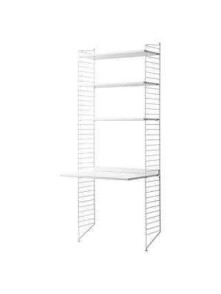 string Shelving Unit with Work Desk and Wall Fastened Side Racks, White