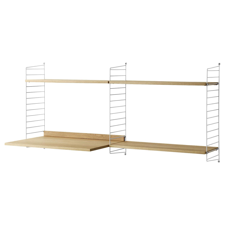 String Work Desk Shelves And Wall Fastened Side Racks Oak White At