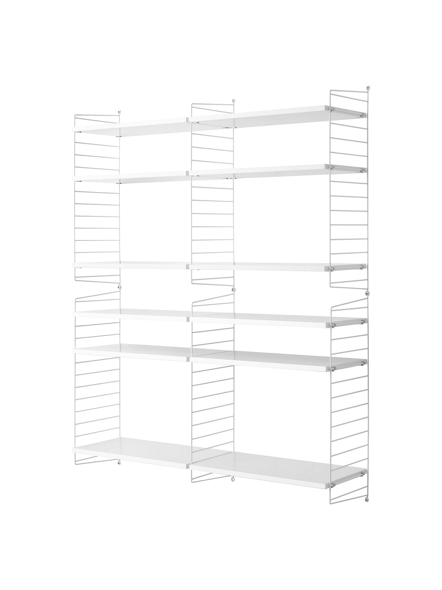 String Large Shelving Unit And Wall Fastened Side Racks, White by String