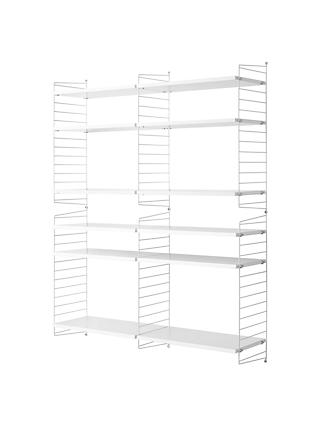 string Large Shelving Unit and Wall Fastened Side Racks, White